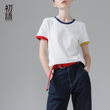Buy Toyouth Basic T Shirt Women Summer Short Sleeve O-Neck Cotton All-Match Tees Tops Female Color Patchwork Casual T-Shirts for $9.60 in AliExpress store