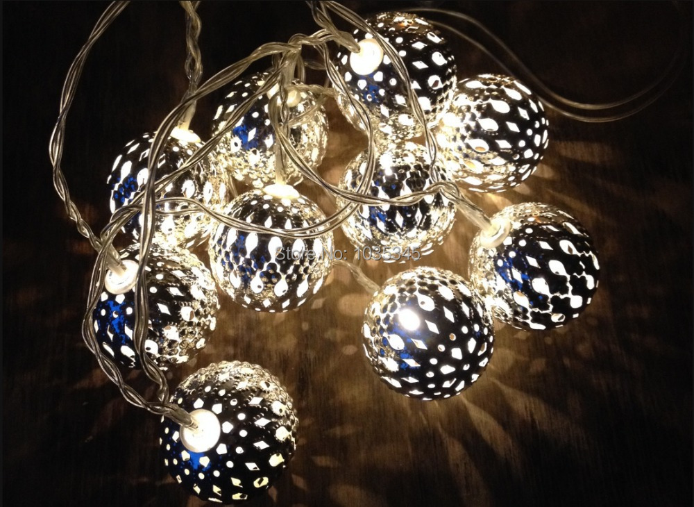 Metal Ball String Lights : Aliexpress.com : Buy 20led Battery Operation Silver 4cm Metal Ball LED String Lights Patio fairy ...