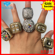 6 pcs/set  Amazing quality 1974 1975 1978 1979 2005 2008 men NFL super bowl Pittsburgh Steelers Replica Championship Ring set(China (Mainland))