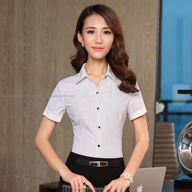 Summer Women Pinstripe Short Sleeve Formal Shirt Blouse Business Work Wear Basic Tops(China (Mainland))