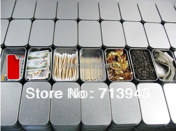 Size:94x59x21mm silver rectangle tin box/plain metal box/small tin box/mint tin box without printing(China (Mainland))