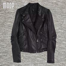 Black genuine leather jackets women 100%sheepskin motorcycle jacket real leather coats veste en cuir femme LT476 Free shipping