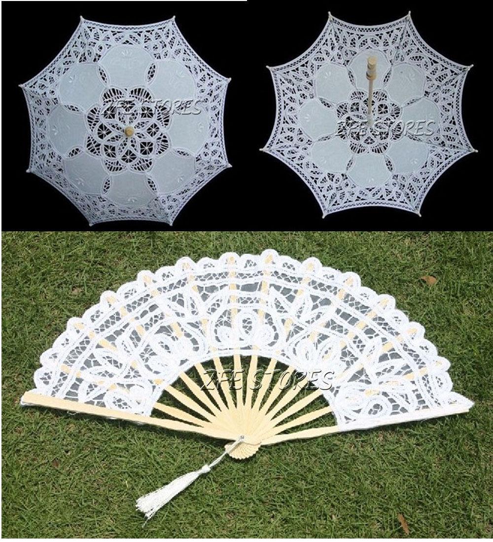 New White Lace Parasol Umbrella Fan mão para nupcial decoração do casamento(China (Mainland))
