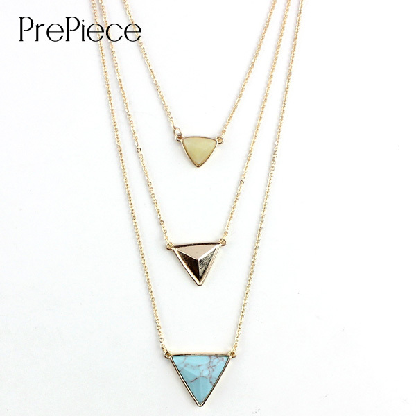 PrePiece Triangle Natural Turquoise Lemon Jade Drop Pendant Multi Layer Long Necklace Gold Plating Women Bohemia Jewelry PN0083(China (Mainland))