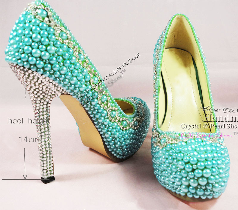 Aquamarine Shoes Teal Pearl Wedding Shoes Platform Dress Shoes Elegant Girls Bridal Shoes