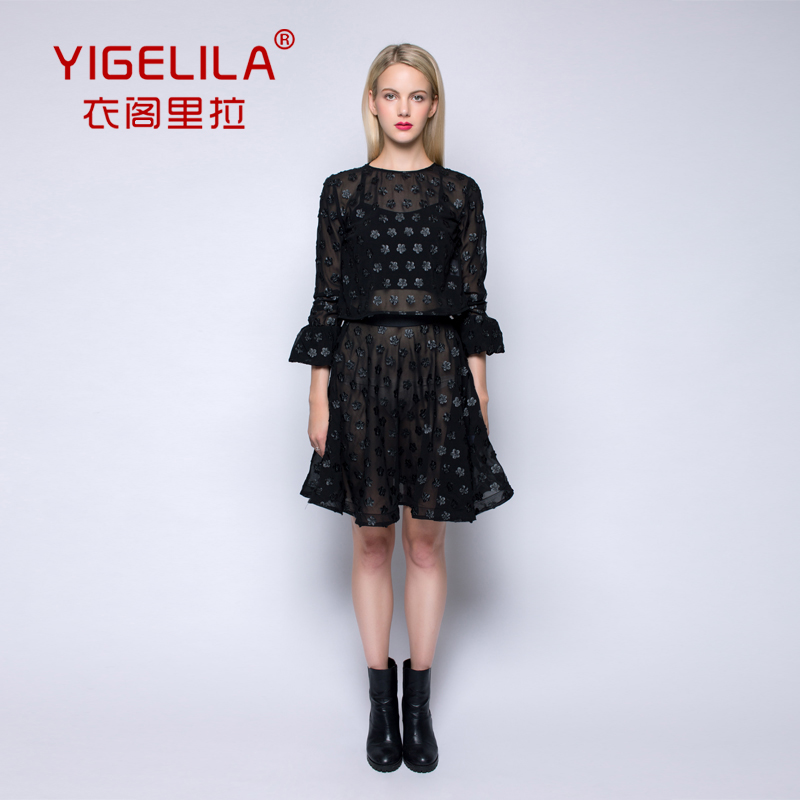 YIGELILA Europe and the major suit in autumn 2014 in the new suit dress sexy lace flower dress female perspective