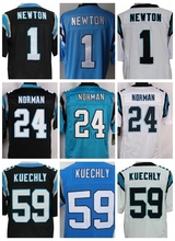 Pas cher hommes # 1 Cam Newton Jersey # 24 Josh Norman # 59 Luke Kuechly Stitiched broderie Logo noir blanc bleu maillots gros(China (Mainland))