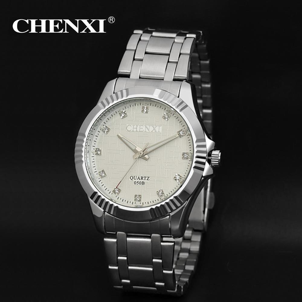 Chenxi Mens Watch Fashion Casual Steel Band Silver Wrist Watch Men Brands  Luxury Diamond Quartz Watches For Men Man Gift On Sale