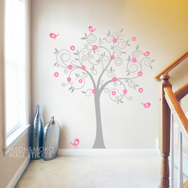 Tree Birds Wall Sticker, Tree Wall Decal, Nursery, Play Room Decoration Girls Vinyl Wall Sticker180*180CM Home Decoration(China (Mainland))