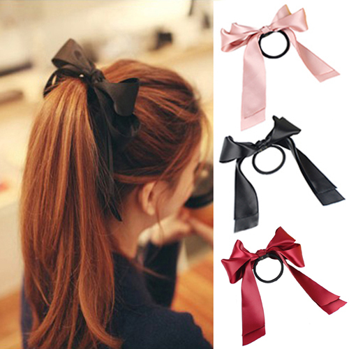 1X Women Satin Ribbon Bow Hair Band Rope Scrunchie Ponytail Holder 9 Color Hot Sell WL104(China (Mainland))