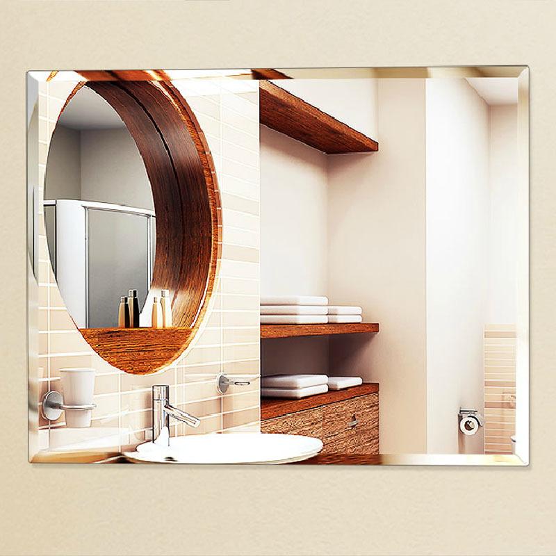 fashion bathroom, ultra clear glass mirror, square wall mirror bathroom mirror, frameless 600*800mm beveled wall mirror(China (Mainland))