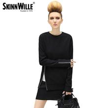 Skinnwille 2016 Демисезонная классическая кофта женская современная модель с длинным асимметричным застежкой-молнией (China (Mainland))