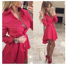 2016 New autumn fashion Women Shirt Dress Small dots Printed Fashion Irregular Long Sleeve Mini Vestidos dresses(China (Mainland))