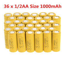 New 36 x 1/2AA Size 1000mAh Yellow 1.2V NI-CD Rechargeable Battery Flat Top Cell Free shipping(China (Mainland))