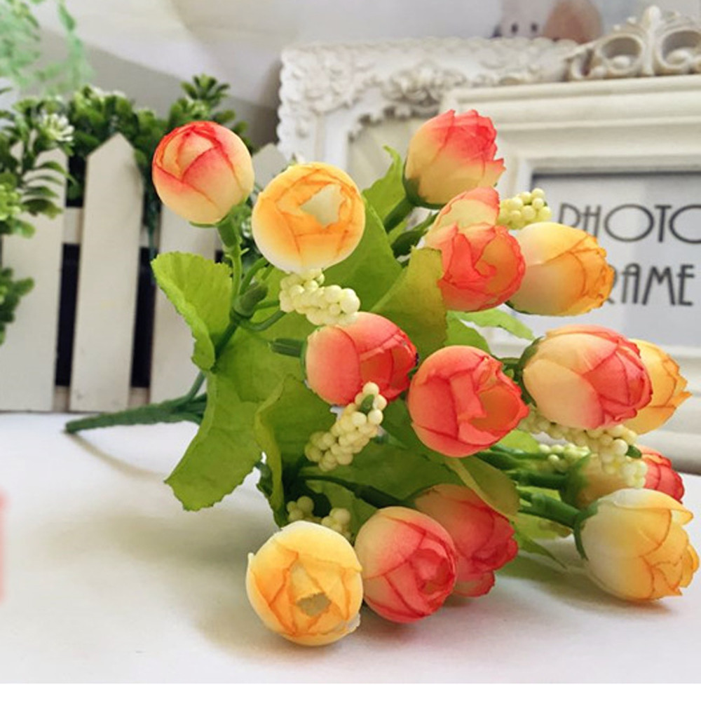 Hot selling 15 Heads Unusual Artificial Rose Silk Fake Flower Leaf Home Decor Bridal Bouquet Jun16 Professional High quality