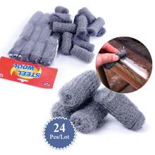 12pcs/lot Kitchen steel wool degreasing cleaning tool steel ball pot brush magic cleaner melamine sponge(China (Mainland))
