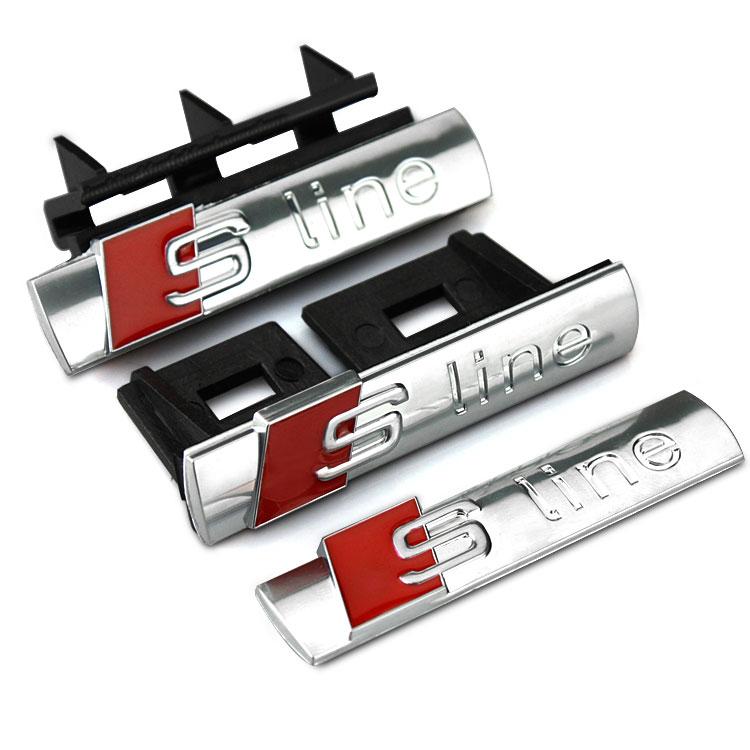 S LINE design refit car grill  logo sticker for AUDI A1/A3/A7/A8L/Q5/Q7/A4L,sport S Line decor car styling sticker badge (China (Mainland))