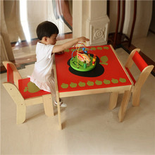 Labebe Children Furniture Sets Apple Pattern Kids Birch Wood Table and 2 Chairs Set(China (Mainland))