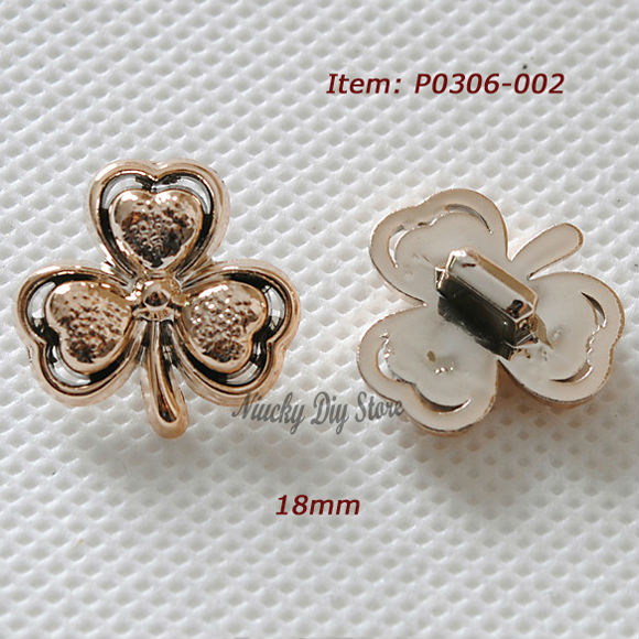 Boutique Rose Gold Clover Flower Buttons Feather buttons Shank Button of Fashion Shirt or Headwear Accessories 18mm P0306-002(China (Mainland))