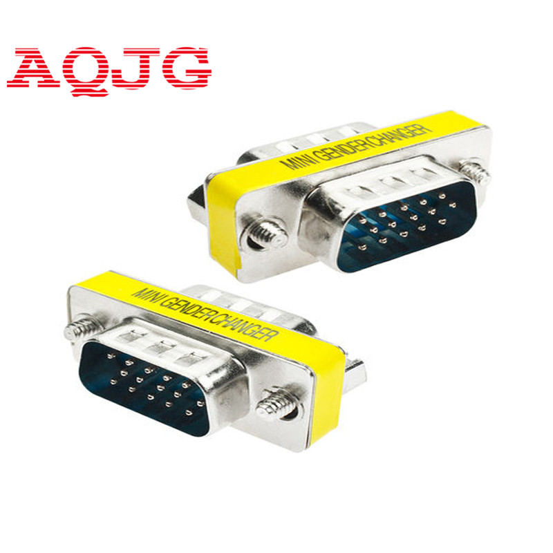 New Male to Male VGA HD15 Pin Gender Changer Convertor Adapter hot selling(China (Mainland))