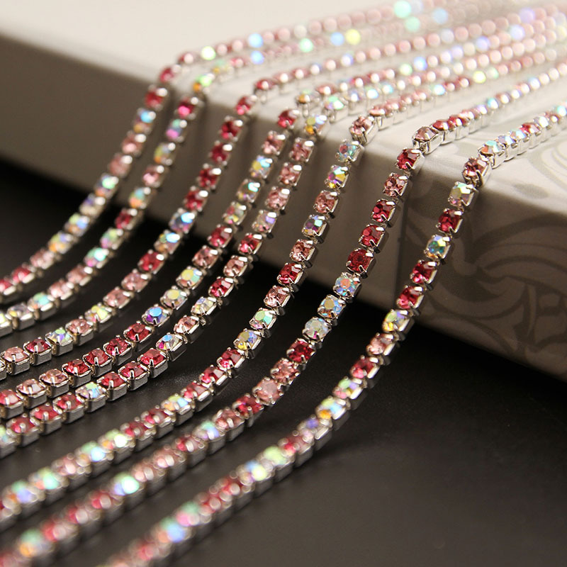 intensive style Glass rhinestone DIY silver Density Trim Strass colour mixture Crystal Cup Chains Dress Garment accessories 3298(China (Mainland))