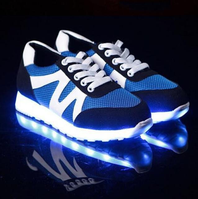 Мода ПРИВЕЛА обувь светящиеся любителей моды для мужчин женская Обувь USB загораются ...
