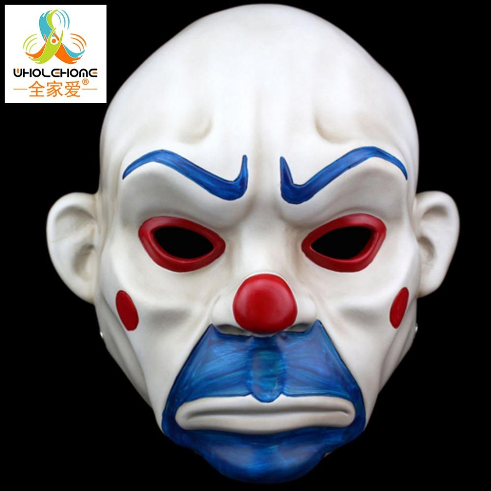 Adult Batman Joker Clown Bank Robber Mask Dark Knight Costume Halloween Masquerade Party Fancy Resin Mask Free Shipping(China (Mainland))