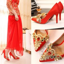 Ruby Glass Slipper Crystal Red Lace Rhinestone Dress Women Wedding Shoes Pumps Stiletto Thin Most Popular Pointed Toe High Heels(China (Mainland))