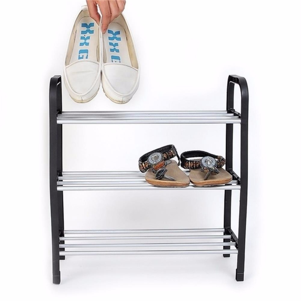Wholesale multilayer Superior 3 Tiers Plastic Shoes Rack Storage multi-function Organizer Stand Shelf Holder woven simple shoe(China (Mainland))