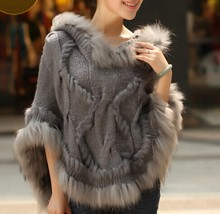 2016 thermal warm winter raccoon fur cape knitted real fur coat women female outwear shawl (China (Mainland))