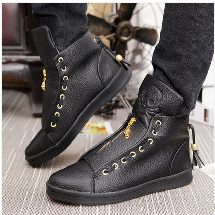 spring 2015 men casual leather shoes high shoes black
