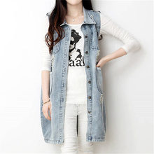 New 2016 Spring New Large Size Medium-Long Women Summer Vest Turn-down Collar Coat Denim Sleeveless Jacket WY390
