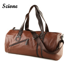 Buy Fashion Male Travel bag Men's Leather Shoulder Bag Vintage Duffle Handbag Large Capacity Crossbody Bags Daily Life Tote Bag Y592 for $25.31 in AliExpress store