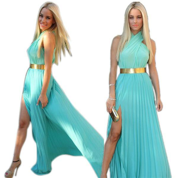 Retail Wholesale Women's Summer Bohemia Maxi Dress Long Party Chiffon Halter Dress(China (Mainland))