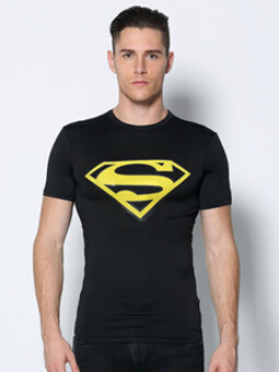 Men Shirt Marvel Hot Sales 2015 New Mens Compressed Superman T-shirt Male Fitness Quick Dry Surfing Tops Free Shipping M-xxl(China (Mainland))