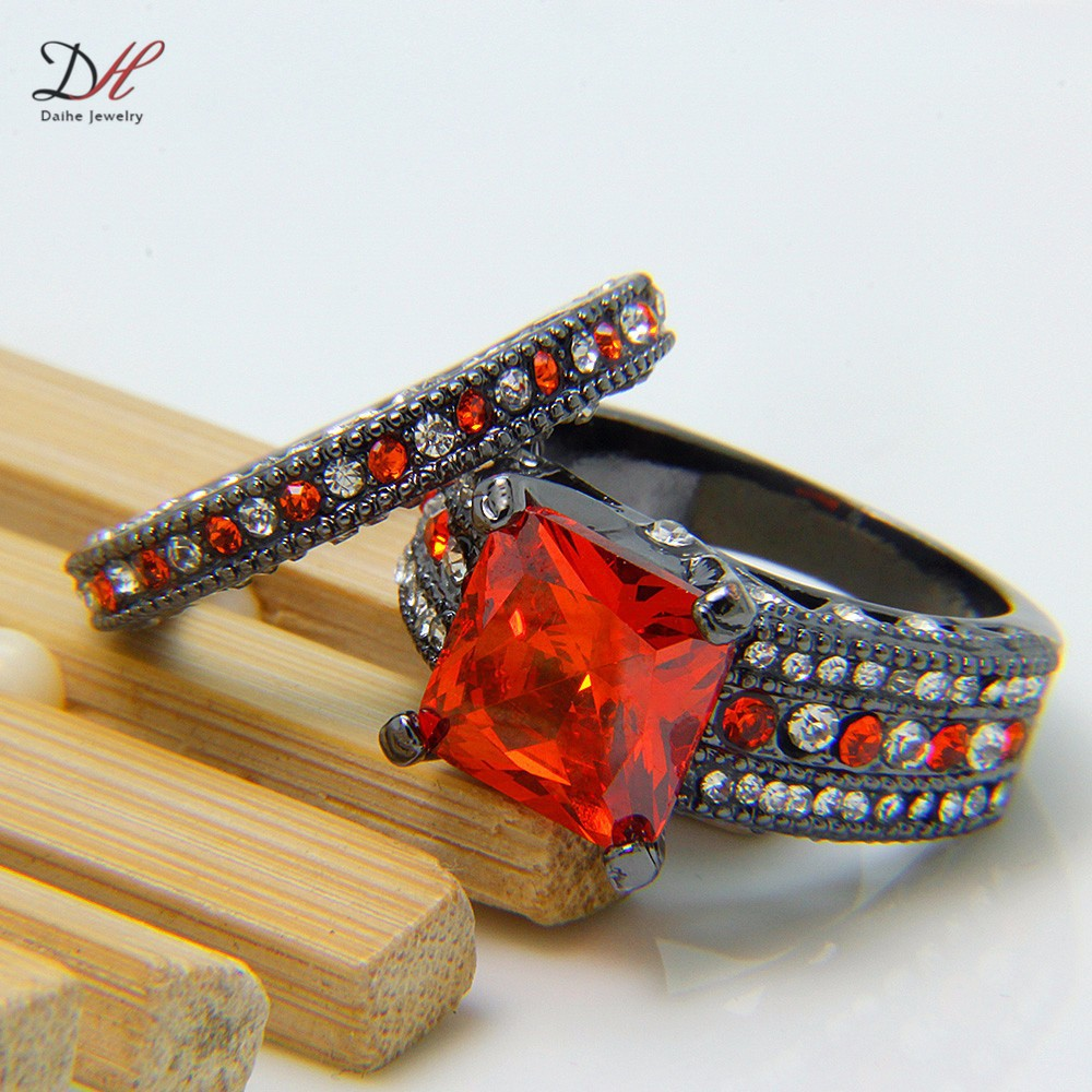 Wholesale Red Sapphire Black Filled Women S Black Gold Wedding Ring Set E