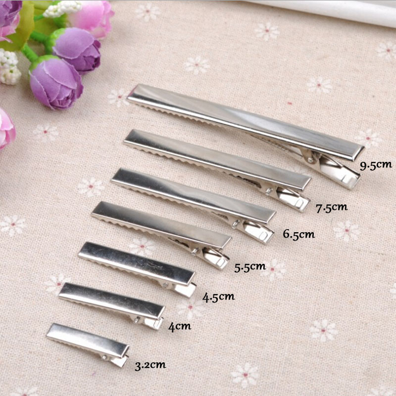 20PCS New Silver Flat Metal Single Prong Alligator Hair Clips Crocodile Barrette For Bows DIY Hairpins 7Size Gifts Craft S1635(China (Mainland))