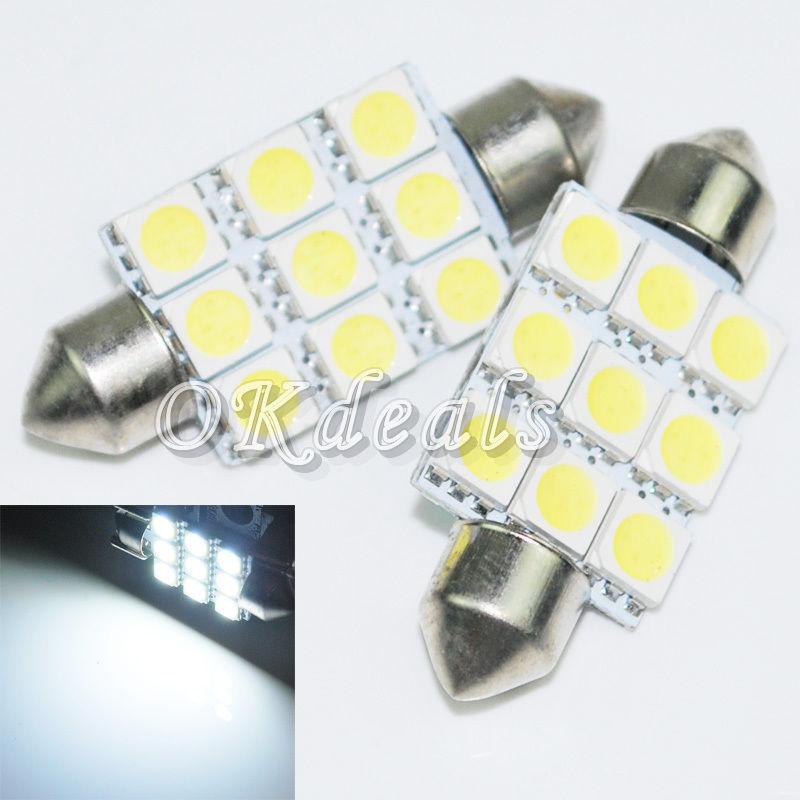 2PCS Festoon White Super Bright Car Styling 39mm 9SMD 5050 LED Dome Light Lamp Bulb Parking(China (Mainland))