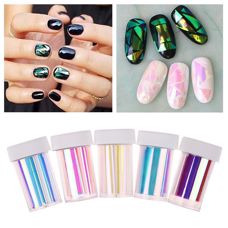 Free shipping Newest Broken Glass Finger Nail Art Stencil Decal ...