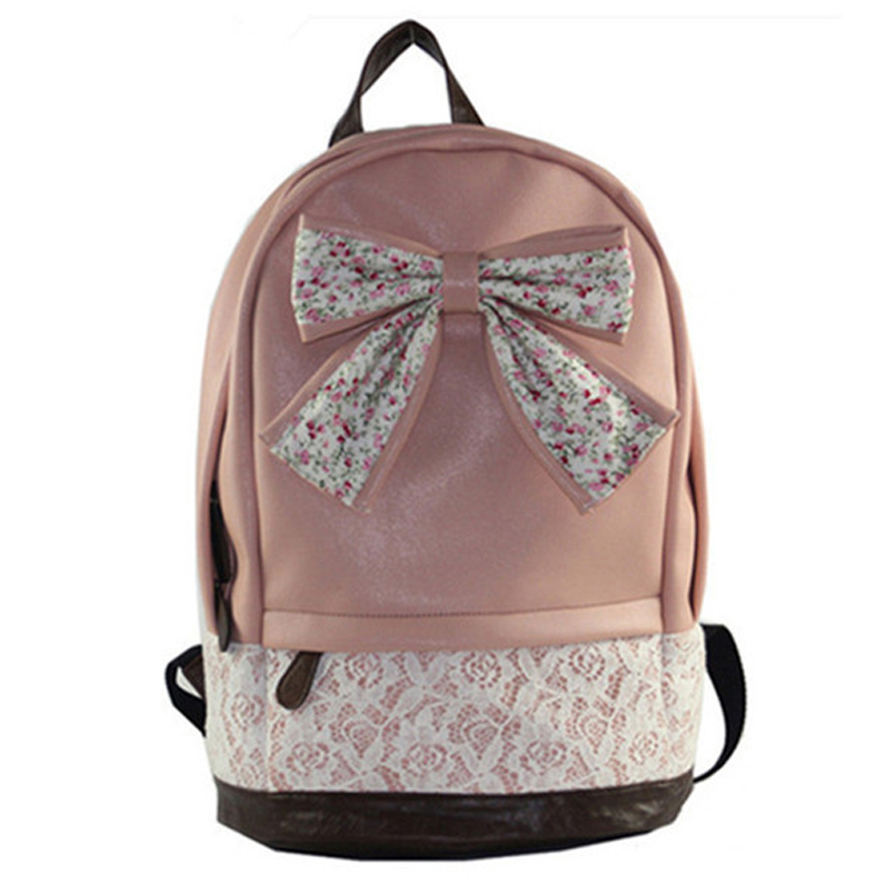 New 2015 Preppy style women leather backpacks school backpack women casual  travel bags sweet bow bags B5040704<br><br>Aliexpress