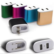Free shipping 100pcs/lot colorful Aluminum Alloy Dual usb ports ac home wall charger power adapter for samsung for iphone 4 5 6(China (Mainland))