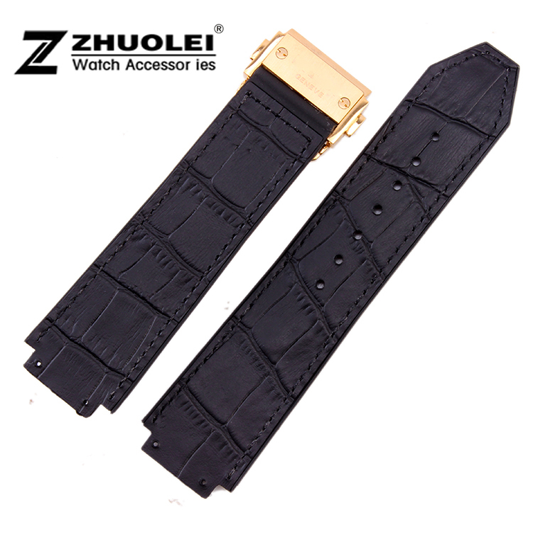 25mm New Mens Black Crocodile Pattern Rubber Watch Band Strap Bracelets Gold Deployment Buckle CLASP BRAND - China ZhuoLei Watchband Store store