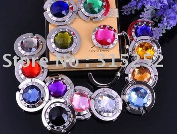 Free shipping Hot selling Mix 15+Colors Fashion Round Foldable Bag Hanger/Purse/Hook/Handbag Holder with Acrylic