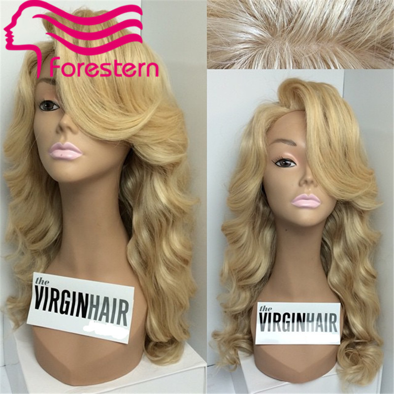High Quality 613 Blond SIlk Base Full Lace Wig Glueless Lace Front Wig Silk Top Human Hair Wigs With Side Bangs Freeshipping(China (Mainland))