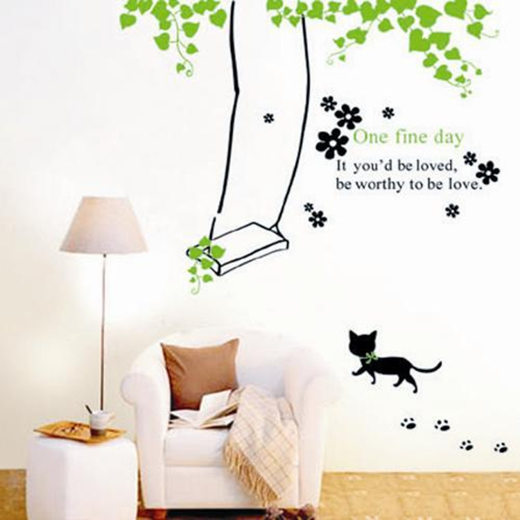 Removable Wall Sticker PVC Vinyl Wall Decal Art Cartoon Cat Meow, Swing in the park Wallpaper Wall Art for Home Decoration(China (Mainland))