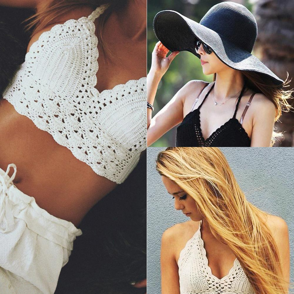 Women Vintage Crochet Crop Top New Summer Camisole Camis Sexy Hollow Out Lace Crochet Bustier Crop Tops Tees Bra Top L116(China (Mainland))