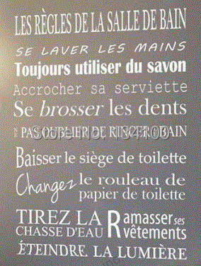 Quotes for bathroom of french version removable wall for Decoration murale pour salle de bain