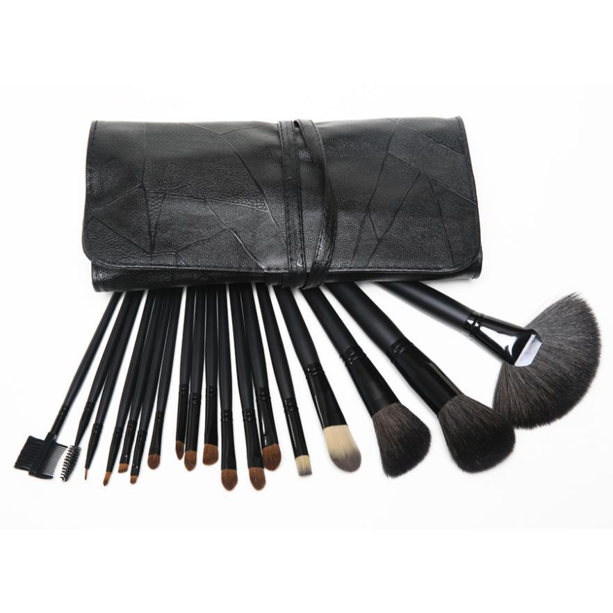 Professional 18pcs Black Makeup Brushes Kit Goat Hair Make Up Brushes Cosmetics Set Makeup Tools With Black Pouch Bag