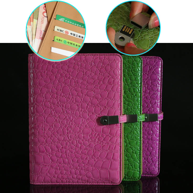 BK-02 4G/8G USB flash pen drive as buckle with alligator pattern PU leather off