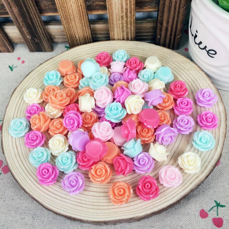 50Pieces Mix Color Flatback Flat Back Resin Flower Cabochon Kawaii DIY Resin Craft Decoration Rose Handmade Accessories:14mm(China (Mainland))